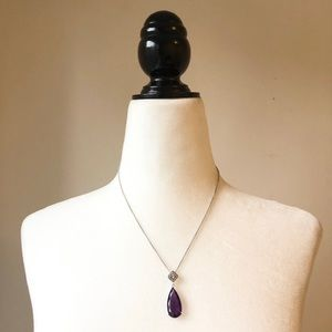 Amethyst necklace on chain
